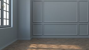 Modern and classic living room interior design, with wood floor and gray wall,3d rendering royalty free illustration