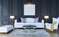 Modern classic luxury living room interior background with mock up poster frame, 3D Rendering