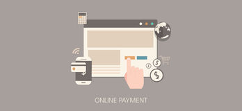 Modern and classic online payment flat concept icon set Stock Image
