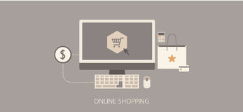 Modern and classic online shopping flat illustration Stock Image