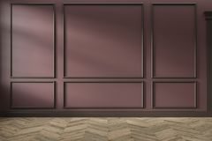 Modern classic red, marsala, burgundy color empty interior with wall panels, mouldings and wooden floor.