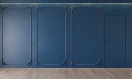 Modern classic royal blue interior with stucco, door, wooden floor, ceiling backlit, molding. Empty room, blank wall. 3d render illustration mock up vector illustration