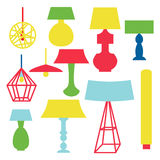 Modern and classic set of lamps. Flat furniture decoration isolated on white background Royalty Free Stock Photography