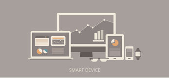 Modern and classic smart device flat illustration Stock Photography