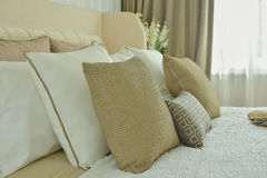 Modern classic style bedding with brown, beige and brown p Royalty Free Stock Photos