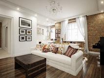 Modern Classic Traditional White Living room Stock Image