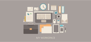 Modern and classic work space flat illustration Royalty Free Stock Photography