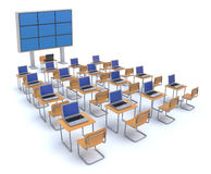 Modern classroom. With video wall and laptop computers Stock Photography
