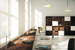 Modern classroom with books and lamps at sunrise. 3D Render Royalty Free Stock Image