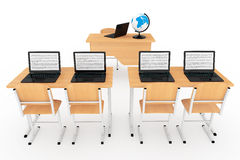 Modern Classroom Concept. School Desks with Laptops in Classroom Royalty Free Stock Image