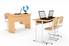 Modern Classroom Concept. School Desks with Laptops in Classroom Stock Images