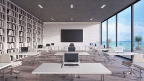 Modern classroom interior design 3d render stock photo