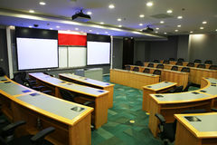 Modern classroom with projector stock photos