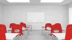 Modern classroom or training room walk through to whiteboard stock video footage