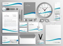 Modern clean business stationery set design. Vector royalty free illustration