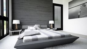 Modern and clean design of bedroom royalty free stock images