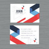 Modern and clean design business card template in blue and red triangle abstract background. Printing design template. Vector illu Royalty Free Stock Images