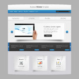 Modern Clean ebsite design template, with Tablet in Hand realistic illustration. Royalty Free Stock Photo
