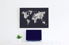 Modern clean interior world map illustration Royalty Free Stock Photography