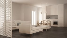 Modern clean living room with kitchen and dining table, sofa, pouf and chaise longue, minimal white and gray interior. Design stock photo