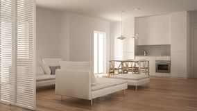 Modern clean living room with kitchen and dining table, sofa, pouf and chaise longue, minimal white interior design. Modern clean living room with kitchen and royalty free stock photography