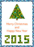 Modern and clean Merry Christmas and Happy New Year 2015 card Royalty Free Stock Image