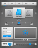 Modern Clean Website Design Elements Grey Blue Gray 2: Buttons, Form, Slider, Scroll, Carousel, Icons, Menu Stock Photo