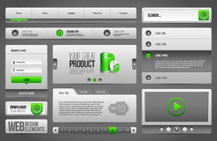 Modern Clean Website Design Elements Grey Green Gray: Buttons, Form, Slider, Scroll, Carousel Stock Photo