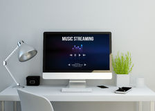 Modern clean workspace with music streaming website on screen. Modern clean workspace mockup with music streaming website on screen. 3D illustration. all screen royalty free illustration
