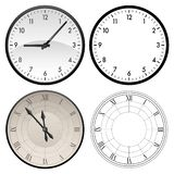 Modern clock and antique clock in both color and black template versions, vector illustration. A set of clocks with both modern and roman numeral numbers, color stock illustration