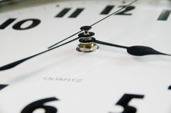 Modern clock, detail. Modern black & white clock. focus on center, hands Royalty Free Stock Images