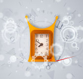 Modern clock with parts comming out Stock Photography