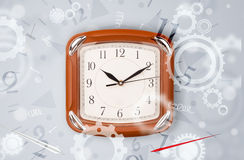 Modern clock with parts comming out Royalty Free Stock Photos