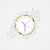 Modern clock with question marks. Vector Royalty Free Stock Images