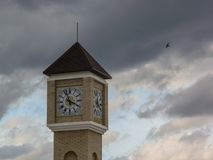 Modern clock tower in the Kaluga region of Russia. Royalty Free Stock Images