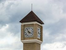 Modern clock tower in the Kaluga region of Russia. Stock Images