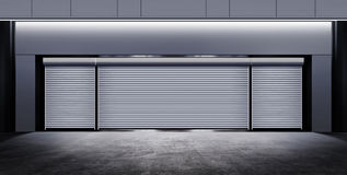 Modern closed garage at night. Modern closed garage on street of city at night time royalty free illustration