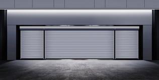 Modern closed garage at night Royalty Free Stock Photo