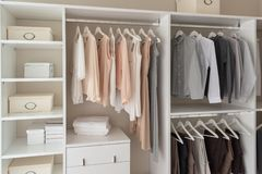 modern closet with clothes stock photo