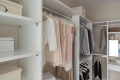 modern closet with clothes royalty free stock photo