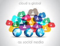 Modern Cloud Globals infographic concept background. For social media advertising and communications with real devices mockup Royalty Free Stock Photo