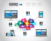 Modern Cloud Globals Services concept background Stock Image
