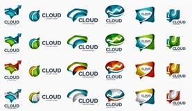 Modern cloud logo set Royalty Free Stock Photo