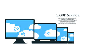 Modern cloud services and Cloud Computing Elements Concept. Devices connected to the cloud with Gears. Flat Illustration. Stock Photos
