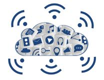 Modern Cloud Services and Cloud Computing Elements Concept. Flat Illustration. Stock Image