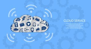 Modern Cloud Services and Cloud Computing Elements Concept. Flat Illustration. Stock Photography