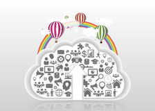 Modern cloud upload with icons. Vector illustration Stock Image