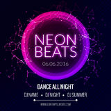 Modern Club Music Neon Beats Party Template, Dance Party Flyer, brochure. Night Party Club Banner Poster. Stock Photos