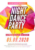 Modern Club Music Party Template, Night Dance Party Flyer, brochure. Night Party Club sound Banner Poster.  stock illustration