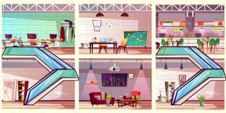 Modern co working office interiors cartoon vector royalty free illustration